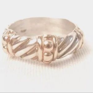 1940's Deltah Sterling Silver and 14kt Gold Ring